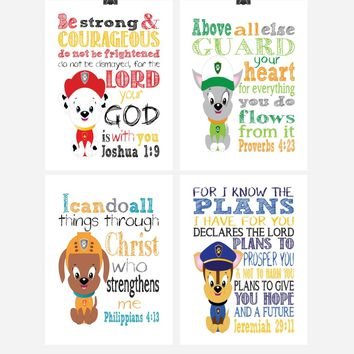 Paw Patrol Nursery Decor Art Print Set of 4 - Chase, Marshall, Zuma and Tracker with Bible Verses