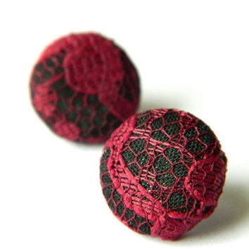 Button Earrings Lace BlackMaroon by PushTheButtons on Etsy