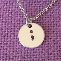 Semicolon Necklace - Semicolon Jewelry - Suicide Awareness - Suicide Prevention - Keep fighting - Its not over - Motivation