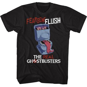 The Real Ghostbusters T-Shirt Fearsome Flush Black Tee