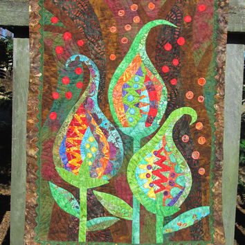 Original Batik Applique and Patchwork Quilted Wall Art hanging. Ravenous