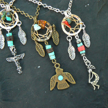 tribal dreamcatcher necklace Kokopelli Thunderbird or Totem
