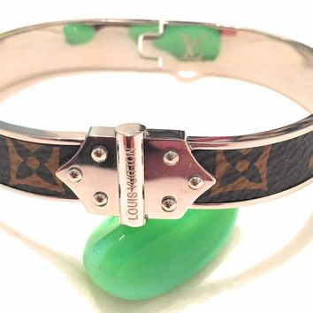 KC Luxurys Louis Vuitton Inspired Monogram Bangle Bracelet Silver