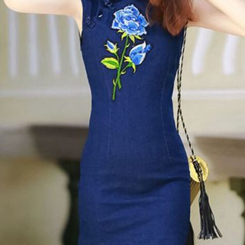 Casual Band Collar Embroidery Denim Sleeveless Bodycon Dress