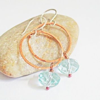 Sterling Silver and Hammered Copper Hoop Dangle Earrings, Faceted Aqua Bead Drops