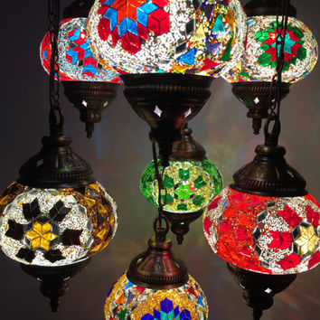 Turkish Mosaic Handmade Lamp Moroccan / Ottoman celling, pendant lamp 9 balls set.