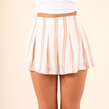 LAST CALL- DUSTY ROSE STRIPED SHORTS