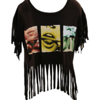 Blunt Roll Fringe Crop Top