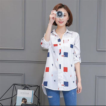 Woman Blouses Long Sleeves Geometric Print Shirt Turn-down Collar Tops Shirt Female Work Wear Blusas Plus Size 4XL 33072 GS