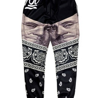 Black $100 Franklin Portraits 3D Digital Print Emoji Jogger Trousers