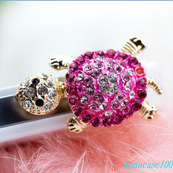 cute purple crystal Tortoise  Dust Plug 3.5mm Smart Phone Dust Stopper Earphone Cap Headphone Jack Charm for iPhone 4 4S 5 HTC Samsung