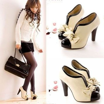 2015 HOT WOMEN SEXY HIGH HEEL BEIGE TIE FASHION ANKLE SHOES US5-9