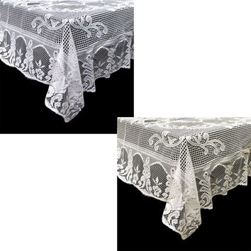 White & Cream Floral Daisy Lace Polyester Tablecloth