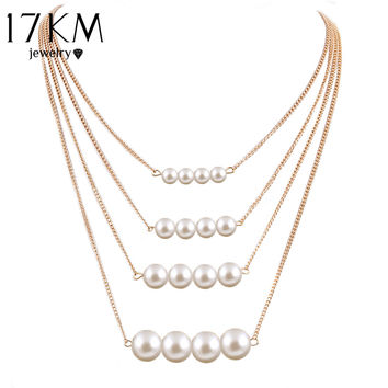 17KM Trendy Multilayer Link Chain Necklace Alloy Gold Color simulated Pearl Necklace Summer Fashion Jewelry Body Chain Women