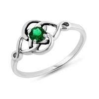 1/4 Carat Emerald Celtic Trinity Knot Ring in Sterling Silver