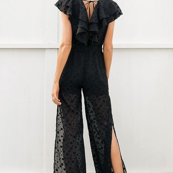 Chiffon Ruffled Side Slit Jumpsuit