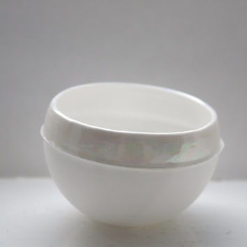 Stoneware English fine bone china bowl with mother of pearl luster - iridescent