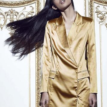 Missguided - Peace + Love Satin Blazer Dress Gold