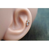 Rose Gold Cross Cartilage Earring Tragus Helix Piercing