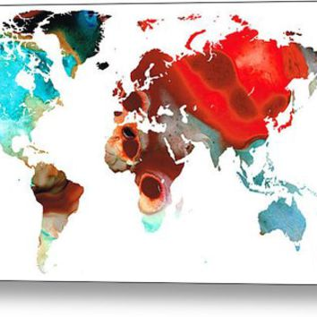 Map Of The World 5 -colorful Abstract Art Metal Print