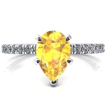 Sicili Pear Yellow Sapphire 5 Prong 3/4 Micro Pave Diamond Engagement Ring