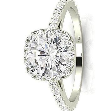 .1.35 Ctw 14K White Gold GIA Certified Round Cut Gorgeous Classic Cushion Halo Style Diamond Engagement Ring, 1 Ct I-J VS1-VS2 Center