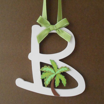 Palm Tree -Painted Wooden Letter - Initial - Hand Painted Letter - Wall Decor - Door Decoration - Beach House Decor