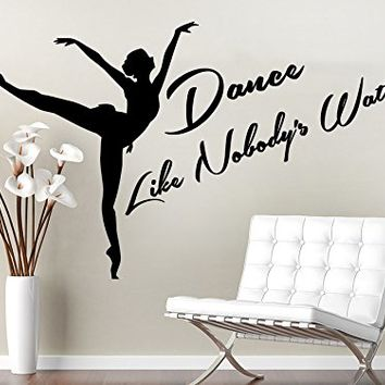 Wall Decals Quotes Vinyl Sticker Decal Quote Dance Like Nobody's Watching Dance Studio Dancer Dancing Home Decor Bedroom Art Design Interior NS582
