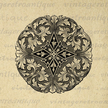 Digital Floral Leaf Design Element Graphic Image Ornament Emblem Download Printable Vintage Clip Art HQ 300dpi No.706