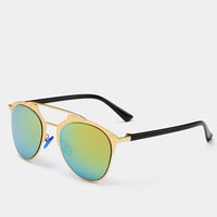 Green and Golden Frame Design Sunglasses with Alloy Bar