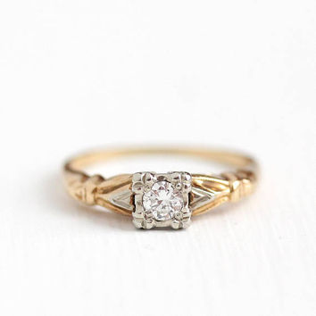 Vintage 14k Rosy Yellow and White Gold .15 Carat Diamond Solitaire Ring - Size 6 Mid Century 1940s Fine Engagement Bridal Two Tone Jewelry