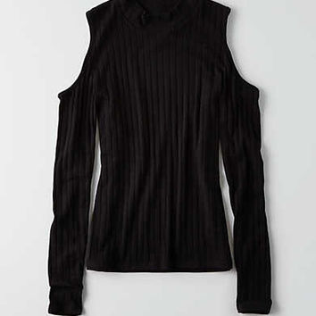 AEO Soft & Sexy Cold Shoulder Top , True Black
