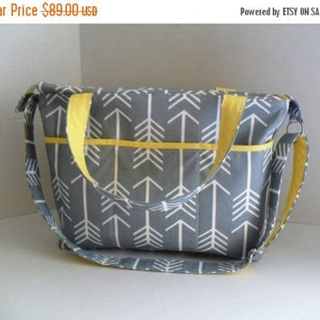 SALE Large Diaper Bag - Gray Arrow - Zipper Closure - Messenger - Tote Bag - Diaper Bag - Stroller Strap - Monogramming Available - Laptop