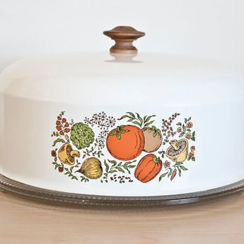 Vintage Spice of Life Style Cake Cover and Cake Plate, Vegetable Print White Cake Cover, Glass Base