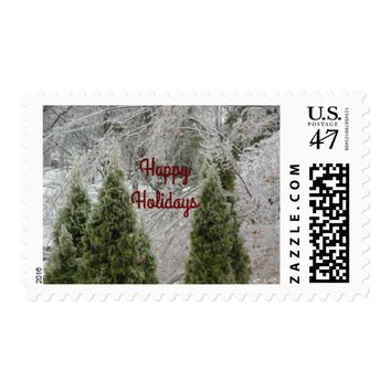 Happy Holidays Tranquil Icy Branches Stamp