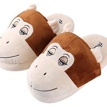 Aerusi SEC20200S Kids Animal Plush Slippers Bear Brown 14quot