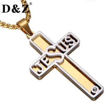 Gold Color Two Tone Jesus Cross Necklace Stainless Steel Christian Crucifix Pendants