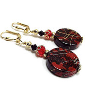 Red and Black Earrings with Metallic Gold Splatter Splash, Drop Earrings, Round Drop Earrings, Clip on Earrings Lever Back Hook