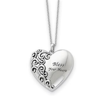 Rhodium Plated Sterling Silver Bless Your Heart Necklace, 18 Inch