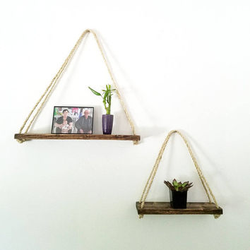 Hanging Shelf - Rope Shelves - Rustic Floating Shelves - Wood rustic decor