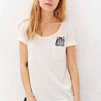 Project Social T Peeking Cat Tee- White