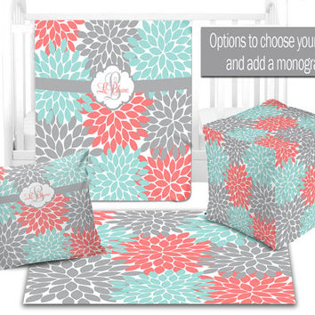 BABY NURSERY DECOR, Coral Aqua Gray Baby Blanket, Ottoman Pouf, Zipper Throw Pillow, Baby Monogram, Matching Nursery Bedding, Nursery Rug