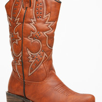Doll House Chestnut Faux Leather Cowboy Boots
