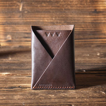 Leather Folded Card Wallet #Dark Brown