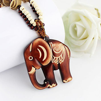 Wooden Bead Elephant Necklace. Boho Necklace. Tribal Elephant Pendant on Wood Bead Necklace. Tribal Necklace