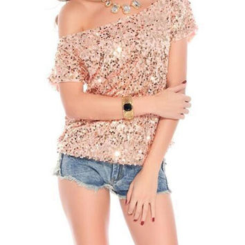 New Summer Style Women Sequins T Shirt Tees Fashion Loose Bling Beads Tops Sexy Off The Shoulder T-shirt Camisetas Mujer AB298