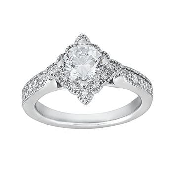 Cherish Always Round-Cut Diamond Engagement Ring in 14k White Gold (1 1/8 ct. T.W.)