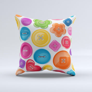 Icon Shaped Color Buttons ink-Fuzed Decorative Throw Pillow