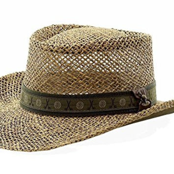 Scala Pro Men's Twisted Seagrass Natural Straw Gambler Hat Sz: L/XL