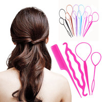 4 pcs Hair Twist Styling Clip Stick Bun Donut Maker Braid Tool Set Hair Accessories 5 Colors Available Y2R1C
